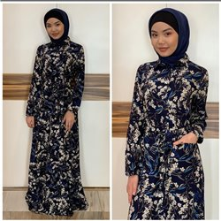 Платье-халат (синий фон)