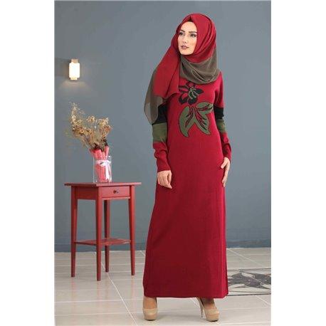 Платье + Палантин (бордо)